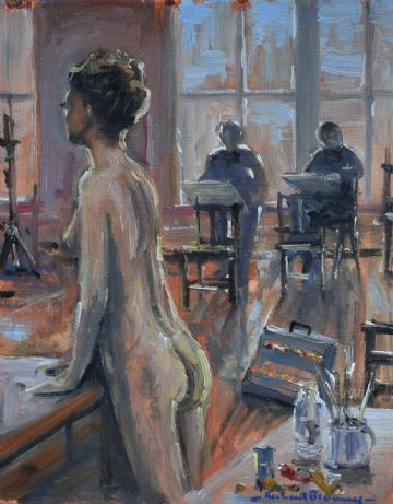 Richard Blowey Original Oil Painting Art Class With Nude Woman